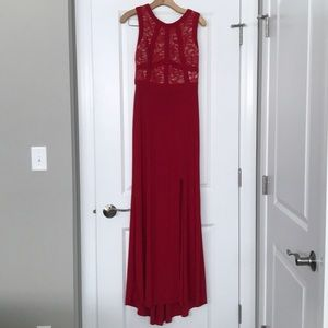 Morgan Co Red Lace Evening Maxi Formal Dress